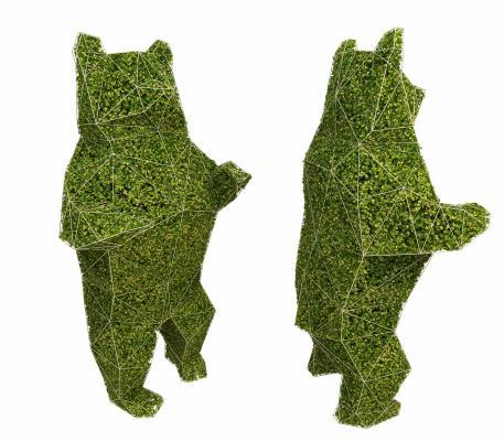 笨熊植物雕塑裝飾3D模型【ID:340607694】