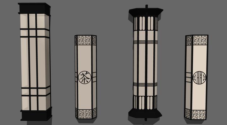 新中式壁燈景觀燈合集SU模型【ID:352065981】