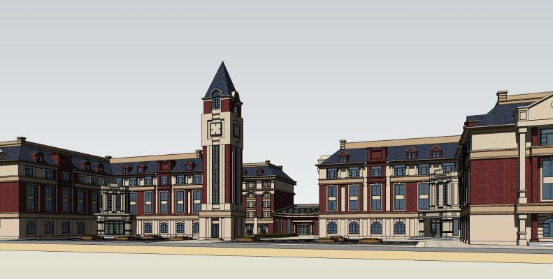 欧式幼儿园学校教学楼建筑SU模型【ID:851986103】