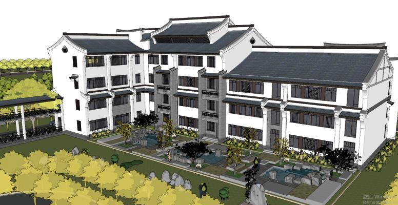 新中式中小學學校教學樓建筑SU模型【ID:851985215】