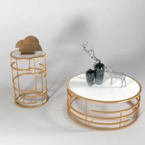 现代茶几边几圆几组合3D模型【ID:633294855】