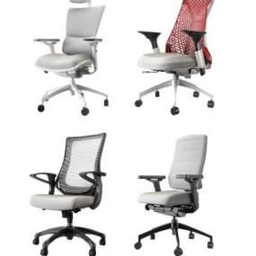 现代电脑办公椅组合3D模型【ID:743876427】