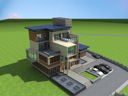 现代别墅3D模型【ID:141754303】
