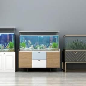 现代玻璃鱼缸3D模型【ID:330595683】