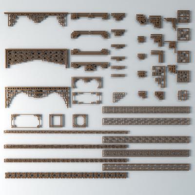 传统中式雕花窗户构件3D模型【ID:335366222】