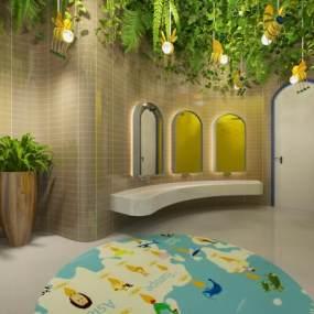 现代幼儿园卫生间 3D模型【ID:942309676】