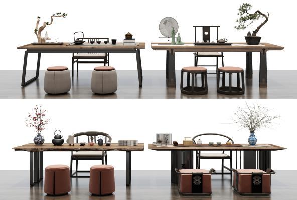 新中式茶桌椅組合3D模型【ID:851035917】