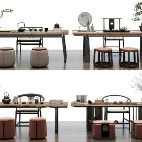新中式茶桌椅组合3D模型【ID:851035917】