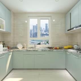 现代风格厨房3D模型【ID:533078307】