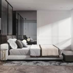 现代卧室3D模型【ID:554015225】