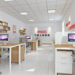 现代保险公司办公室3D模型【ID:937136079】