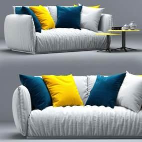 现代布艺双人沙发茶几组合3D模型【ID:635746512】
