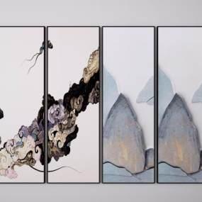 新中式山水挂画3D模型【ID:252575923】
