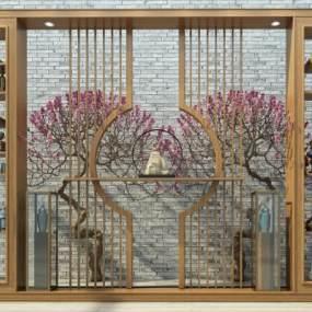新中式博古架屏风柜酒柜组合3D模型【ID:133707143】