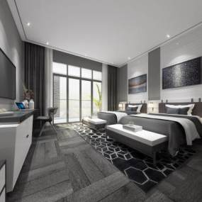 現代風格酒店客房3D模型【ID:743309356】