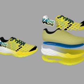 现代鞋子分解图3D模型【ID:332345704】