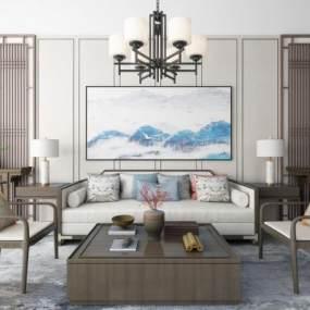 新中式沙发茶几吊灯地毯装饰画组合3D模型【ID:637135776】