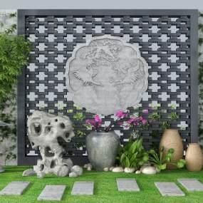 新中式园艺小品竹子砖雕石头小景3D模型【ID:132972482】
