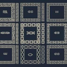 新中式镂空雕花花格组合3D模型【ID:333414433】