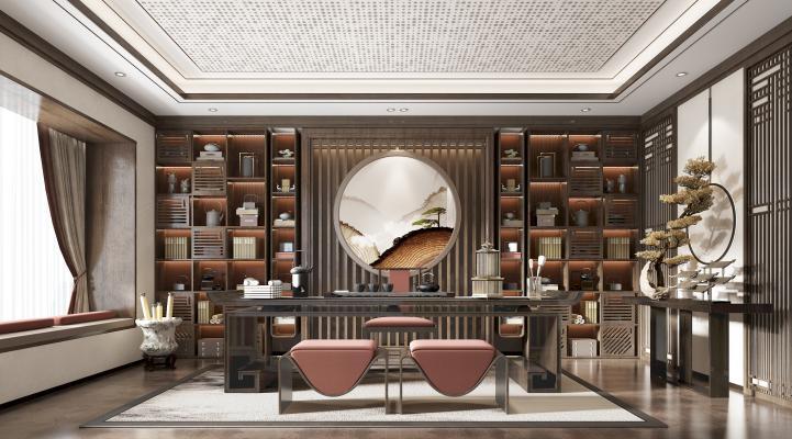 新中式茶室3D模型【ID:649071183】