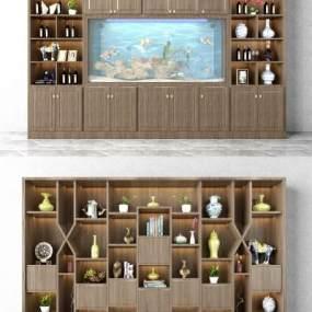 新中式酒柜装饰柜组合3D模型【ID:632006230】