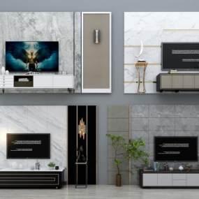 现代电视背景墙电视柜盆栽组合3D模型【ID:230499761】