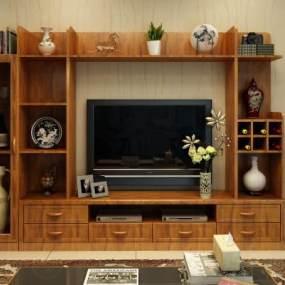 新中式电视柜组合3D模型【ID:949184924】