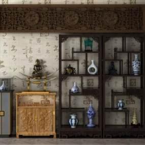 中式博古架置物架装饰架3D模型【ID:131978196】