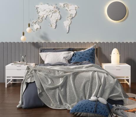 北歐兒童床3D模型【ID:843883877】