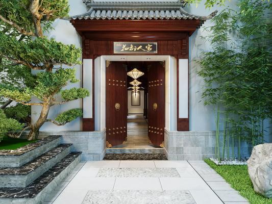 中式庭院大門3D模型【ID:142687350】