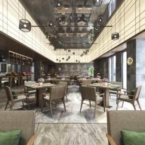 现代简约酒店餐厅3D模型【ID:635940604】