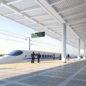 現代高鐵站臺設計3D模型【ID:948969962】