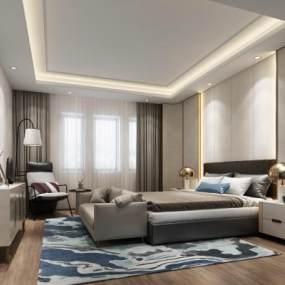 現代輕奢臥室3D模型【ID:551168275】