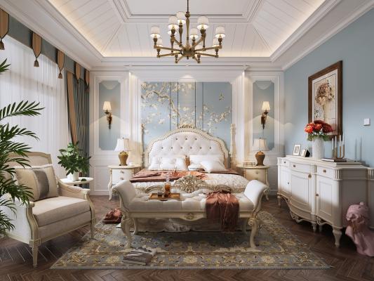 法式卧室 手绘壁纸 吊灯