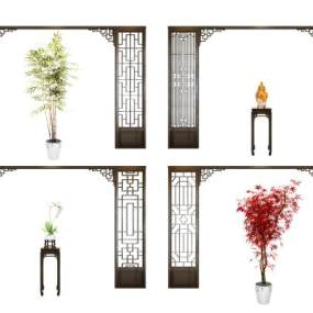 新中式背景框组合3D模型【ID:330943152】