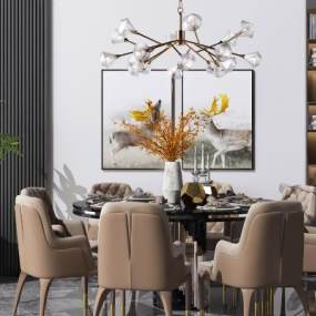 现代圆形餐桌椅3D模型【ID:849154890】