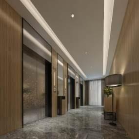 现代风格电梯厅3D模型【ID:743310683】