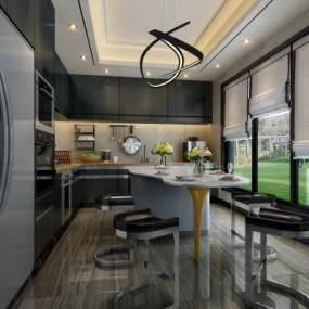 现代厨房3D模型【ID:553680328】