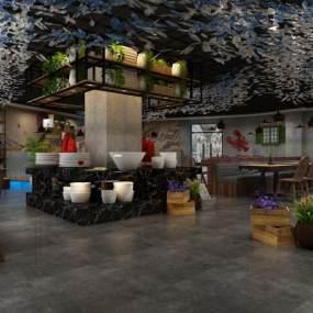 现代餐厅3D模型【ID:634849236】
