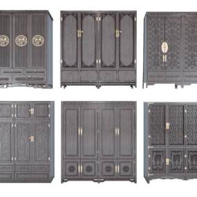 古典中式衣柜组合3D模型【ID:130425447】