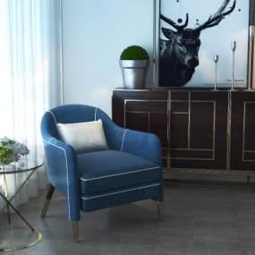 现代沙发圆几组合3D模型【ID:635765461】