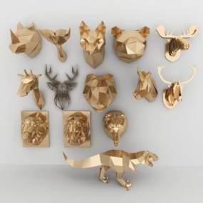 现代几何动物墙饰合集3D模型【ID:236070728】