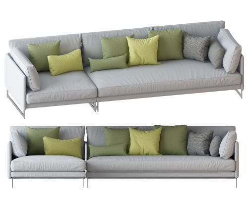 现代?#23478;?#22810;人沙发转角沙发组合3D模型【ID:642052627】