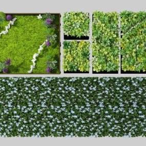现代绿植墙组合3D模型【ID:248919895】