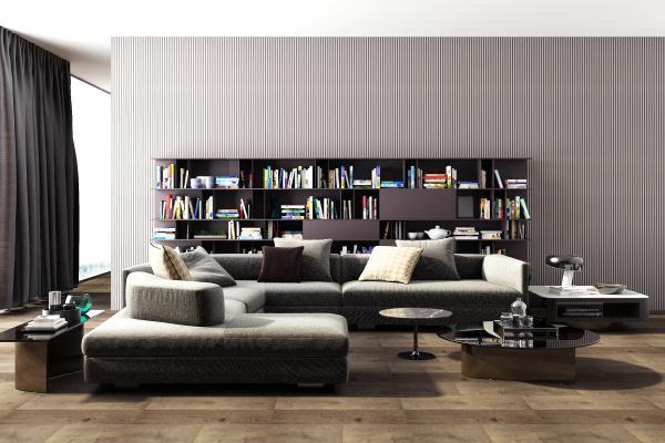 Piliform沙发茶几边几组合书柜国外3D模型【ID:632652783】