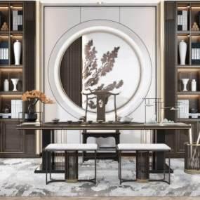 新中式茶室3D模型【ID:649501145】