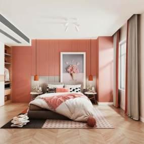 现代卧室3D模型【ID:544663266】