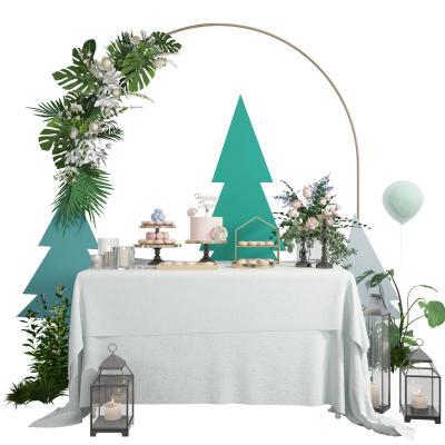 北欧婚庆婚礼甜品台接待台3D模型【ID:345702693】