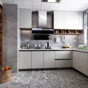 現代廚房櫥柜3D模型【ID:551025366】