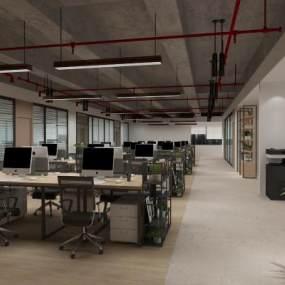 现代敞开式办公室3D模型【ID:953824071】